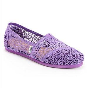Toms Classics Purple Crochet Slip On Shoes